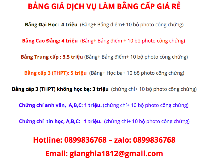 BẢNG GIÁ DỊCH VỤ BẰNG CẤP UY TÍN